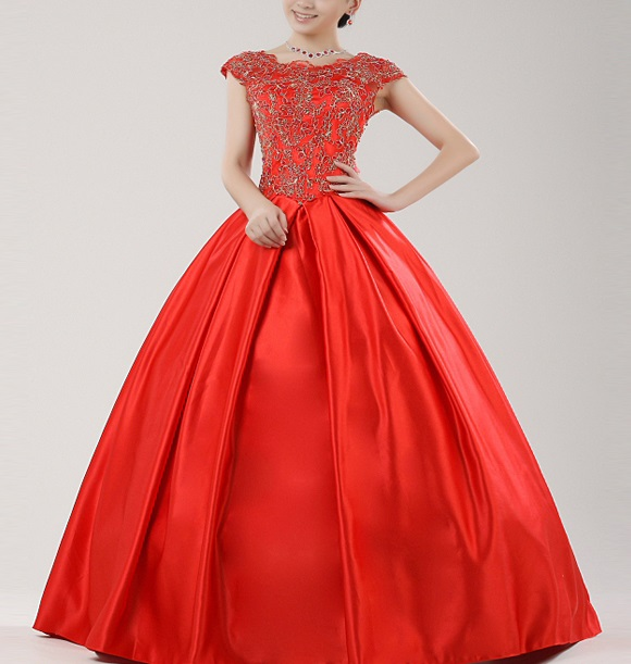 Cute Vintage Red Lace Wedding Dresses