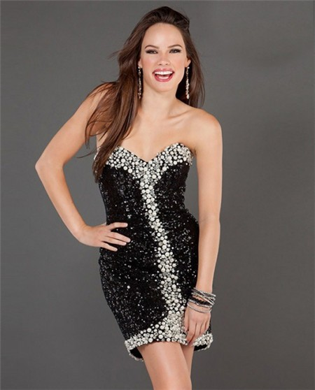 Sexy Black Sequin Party Dresses