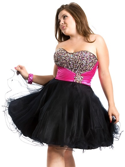 Short Plus Size Prom Dresses Black