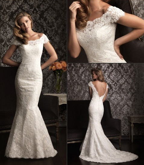 Slim White Fitted Wedding Dresses