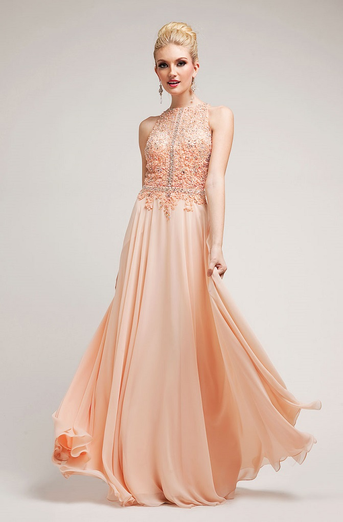 Stylish Peach Prom Dress