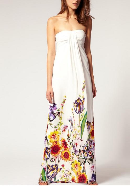 White Floral Maxi Dresses