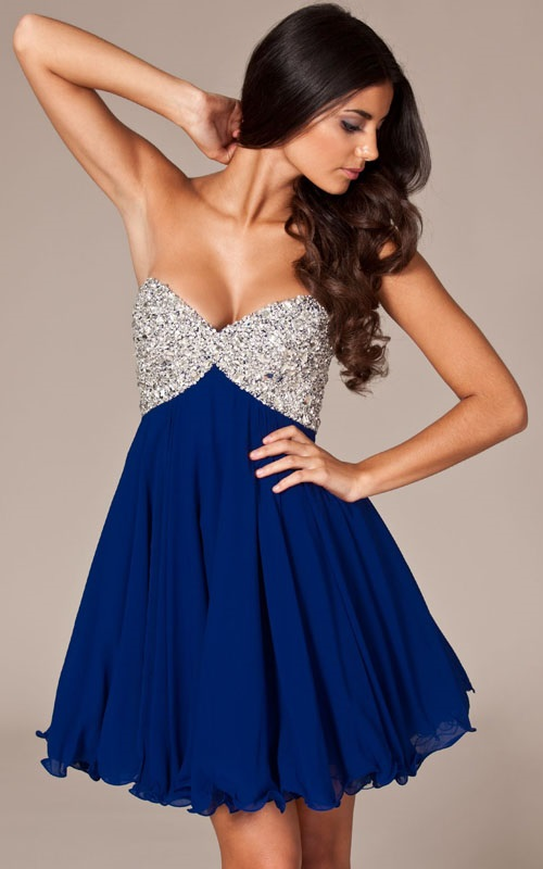 Womens Blue Short Homecoming Dresses